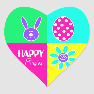 Colorful Easter Heart Sticker