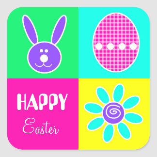 Colorful Easter Square Sticker
