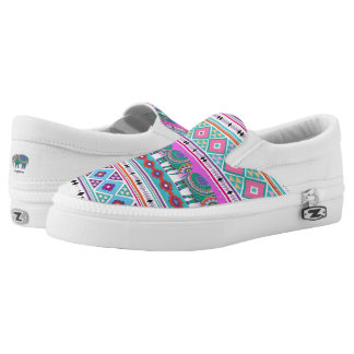 Colorful Elephants Aztec Pattern Cool Printed Shoes