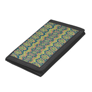 Colorful Ethnic Ikat Pattern on Blue Tri-fold Wallet