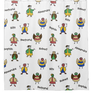 Colorful Family Cartoon Characters Kids any Names Shower Curtain