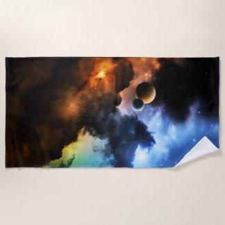 Colorful Fantasy Nebula Beach Towel