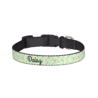 Colorful female dog biscuit bones pet collar