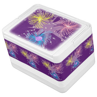 Colorful Fireworks 12 Can Igloo Cooler Chilly Bin