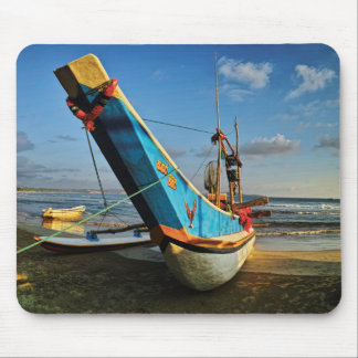 Colorful Fishing Boat By The Ocean Mouse Pad