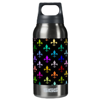 Colorful fleur de lis pattern on black insulated water bottle