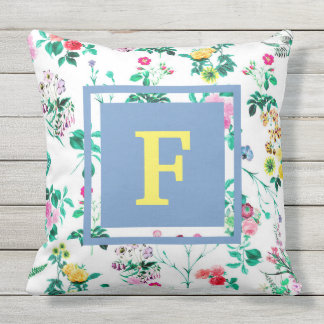 Colorful Floral Flowers Monogram Outdoor Pillow