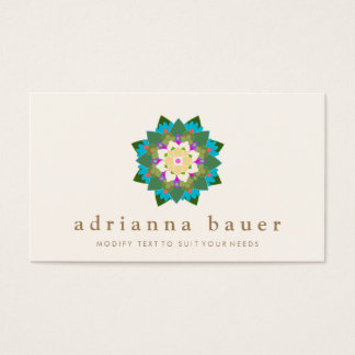 Colorful Floral Lotus Mandala Business Card
