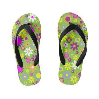 Colorful Flower Kids Flip Flops Thongs