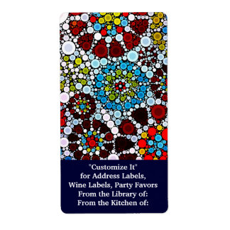 Colorful Flower Mosaic Circles Bubbles Design Shipping Label