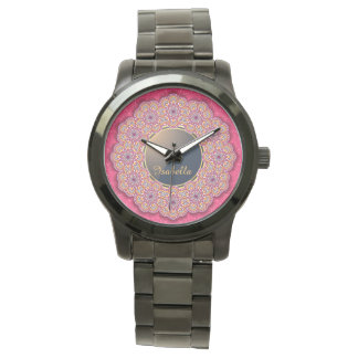 Colorful Flower Ornaments Monogrammed Womens Watch