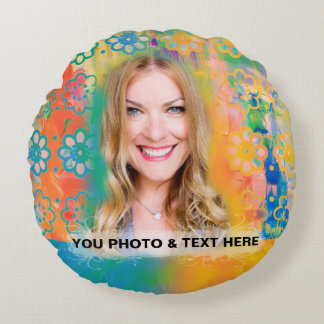 Colorful Flowers Pillow - Personalize Photo & Text