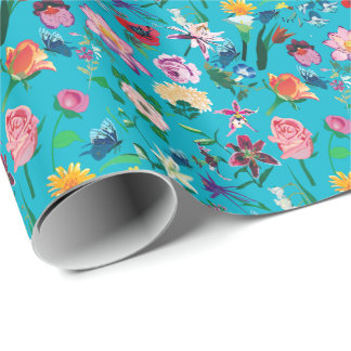 Colorful Flowers Turquoise Background Wrapping Paper