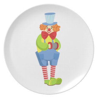Colorful Friendly Clown With Miniature Accordion I Plate