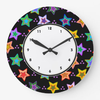 Colorful funky stars pattern large clock