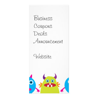 Colorful Funny Monster Party Creatures Bash Customised Rack Card