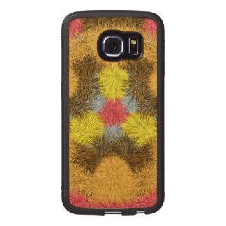 Colorful furry kaleidoscope wood phone case