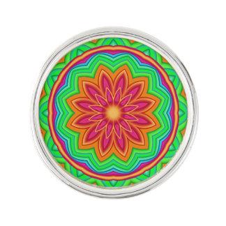 Colorful Geometric Flower Medallion Lapel Pin