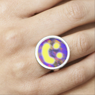 Colorful Geometric Happy Face Ring