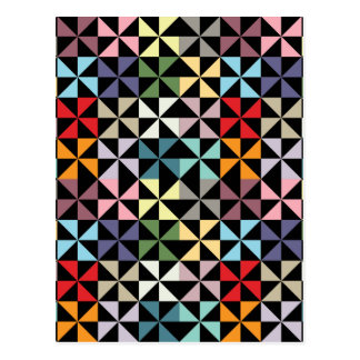Colorful Geometric Pinwheel Black Postcard