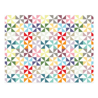 Colorful Geometric Pinwheel Postcard