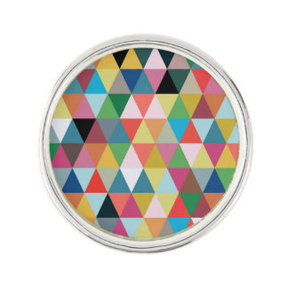 Colorful Geometric Triangle Patterned Lapel Pin