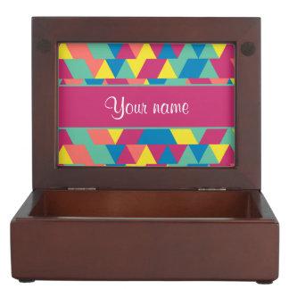 Colorful Geometric Triangles Keepsake Box