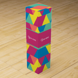 Colorful Geometric Triangles Wine Box