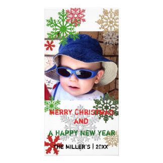 Colorful Glitter Snowflakes Photo Card