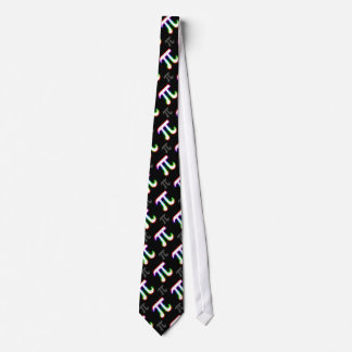 Colorful Glowing Pi Pattern | Black Geek Gifts Tie