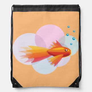 Colorful Goldfish Drawstring Backpack