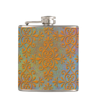 Colorful Gothic Grugne Damask Orange Yellow Rustic Hip Flask