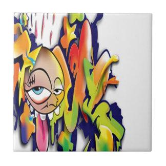 Colorful graffiti artwork design small square tile