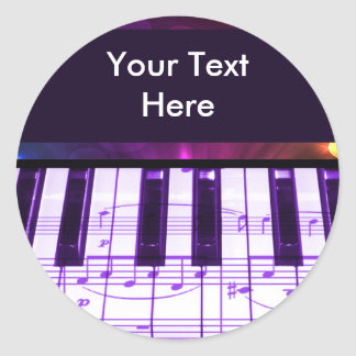 Colorful Grand Piano Keyboard and Music Notes Classic Round Sticker