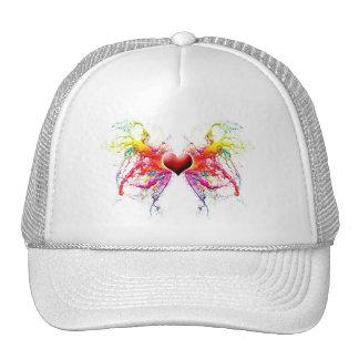 colorful grunge heart love romance trucker hat