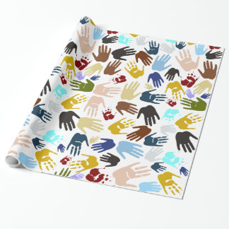 Colorful Handprints Wrapping Paper