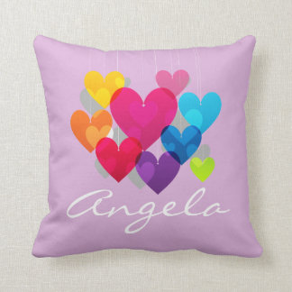 Colorful Hanging Hearts Personalized Pillow