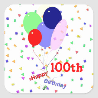 Colorful Happy 100th Birthday Balloons Square Sticker