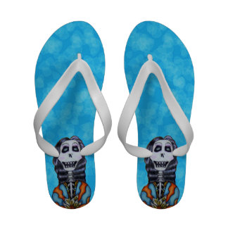 Colorful Happy Day of the Dead Skeleton Flip-Flops