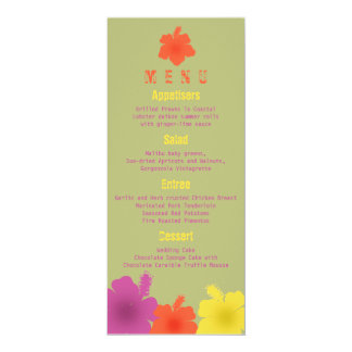Colorful Hawaiian Hibiscus Wedding Menu 10 Cm X 24 Cm Invitation Card