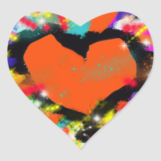 colorful heart peace and love stickers