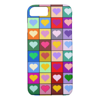 Colorful Heart Squares iPhone 7 Case