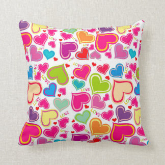 colorful hearts pillows