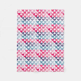 Colorful Hearts Fleece Blanket