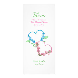 Colorful Hearts Watercolor Wedding Menu Personalized Rack Card