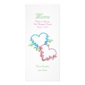 Colorful Hearts Watercolor Wedding Menu Customized Rack Card