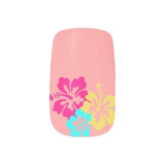 Colorful Hibiscus Design Minx Nail Art