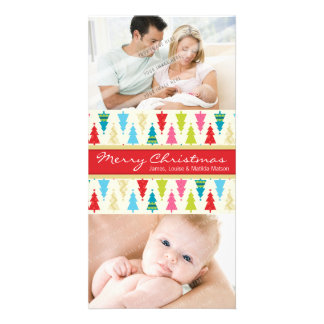 COLORFUL HOLIDAY PHOTOCARD :: patternedxmastree 2P Picture Card