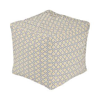 Colorful Honeycomb Grid Pattern Pouf