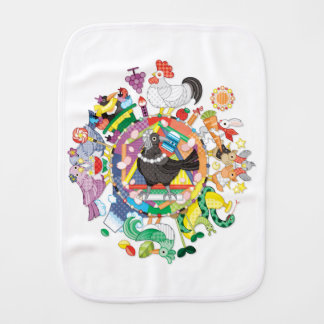 colorful hue circle gradation with black and white burp cloth